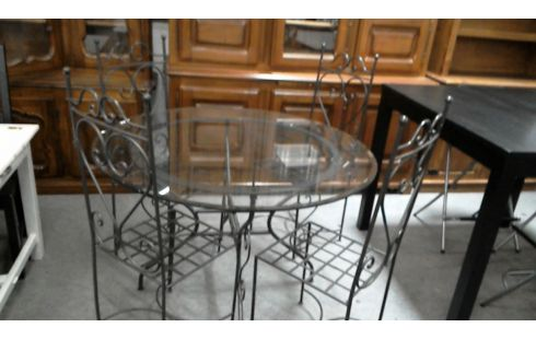 Achat Table Ronde Verre Et Fer Forge 4 Chaises Occasion