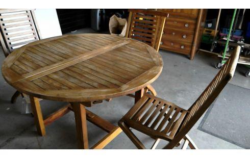 SALON DE JARDIN TABLE + 4 CHAISES TECK