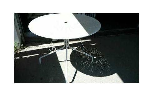 TABLE RONDE DE JARDIN FER BLANC